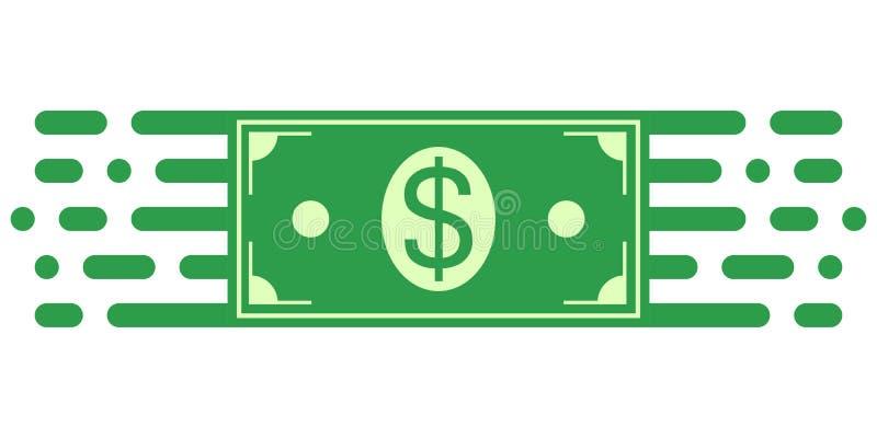Szyldowa symbol inwestycja, dolarowy pieniądze rachunek w pieniężnym ruchu, wektorowy symbol pieniądze obrót handlowy Zarządzanie ilustracja wektor