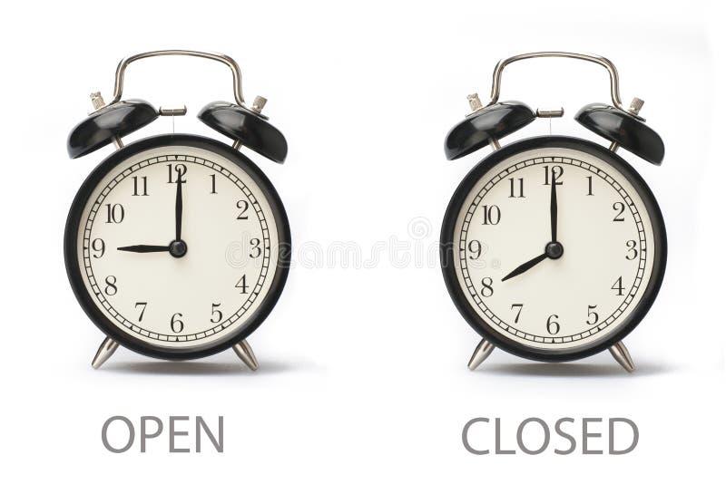 Szyldowe seansu biznesu godziny otwarcie Odizolowywa? na bia?ym tle ilustracji
