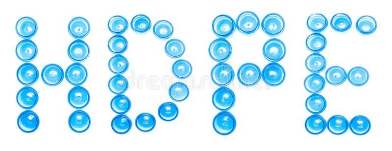 Szyldowego desygnata błękitny klingeryt zgrzyta na białym tle słowo HDPE, Wysoko - gęstość polietylen, odizolowywa, przetwarzając zdjęcie royalty free