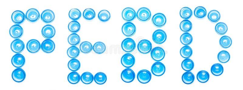 Szyldowego desygnata błękitny klingeryt zgrzyta na białym tle słowo PEBD, Niskiej gęstości polietylen, odizolowywa, przetwarzając fotografia royalty free