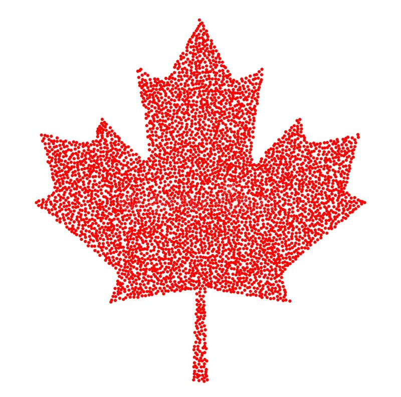 Szyldowy ciemny Canada liścia klonowego stipple Kropkowany piksla abstrakta liść klonowy Lata i jesieni tematu sprzedaż również z ilustracja wektor
