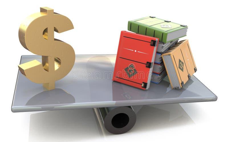 Szyldowy dolar i książki dalej ważymy ilustracja wektor