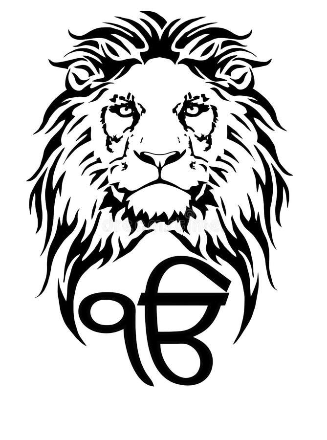Szyldowy Ek Onkar jest znacz?cym symbolem Sikhism, dekoruj?cym z lwem ilustracji