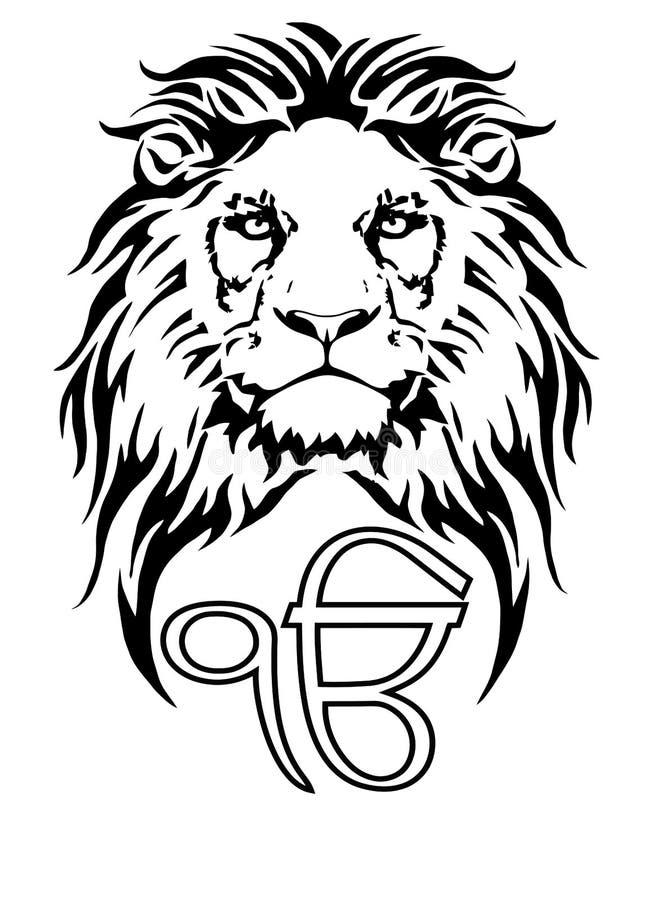 Szyldowy Ek Onkar jest znacz?cym symbolem Sikhism, dekoruj?cym z lwem ilustracja wektor