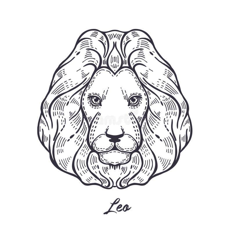 szyldowy Leo zodiak Symbol astrologiczny horoskop ilustracja wektor