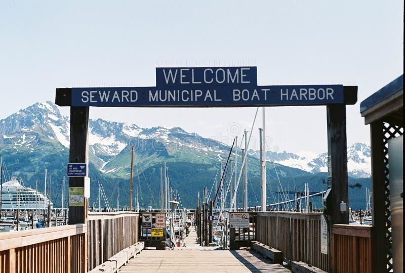 Szyldowy ocechowania wejście Seward Łódkowaty schronienie Alaska obrazy stock