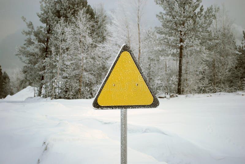 szyldowy ostrzegawczy kolor żółty fotografia stock