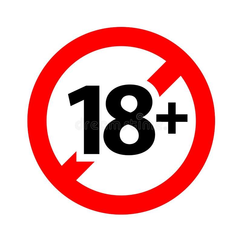 18 szyldowy ostrzegawczy symbol odizolowywający na białym tle nad 18 plus tylko cenzurujący, osiemnaście dorosłego pełnolet ilustracji