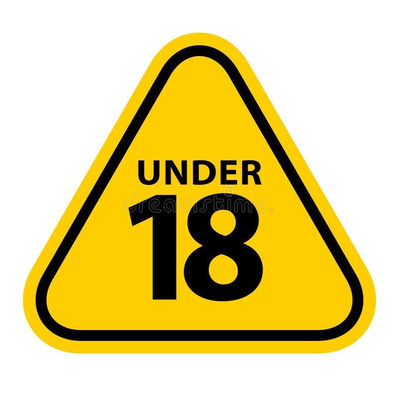 18 szyldowy ostrzegawczy symbol odizolowywający na białym tle, pod 18 tylko cenzurującym, osiemnaście dorosłego pełnoletnia ilustracji
