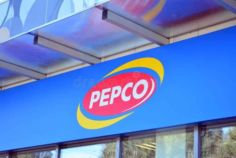 Szyldowy Pepco Firmy signboard Pepco zdjęcie stock