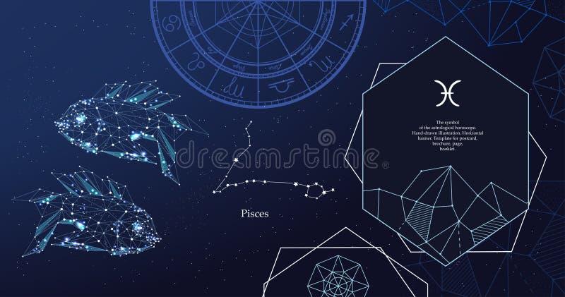 szyldowy Pisces zodiak Symbol astrologiczny horoskop Horyzontalny sztandar royalty ilustracja