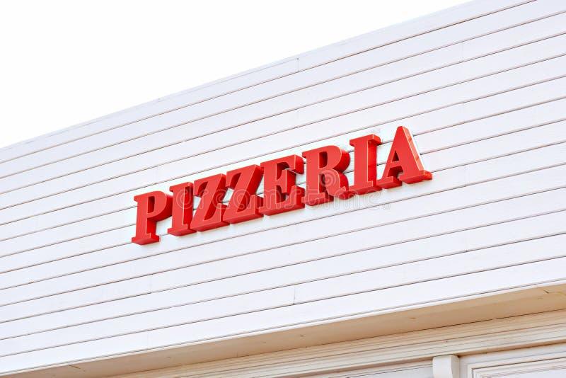 Szyldowy pizzeria na kawiarni obraz stock
