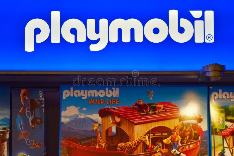 Szyldowy Playmobil Firmy signboard Playmobil obraz royalty free