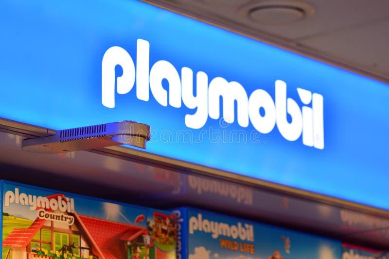 Szyldowy Playmobil Firmy signboard Playmobil obraz stock