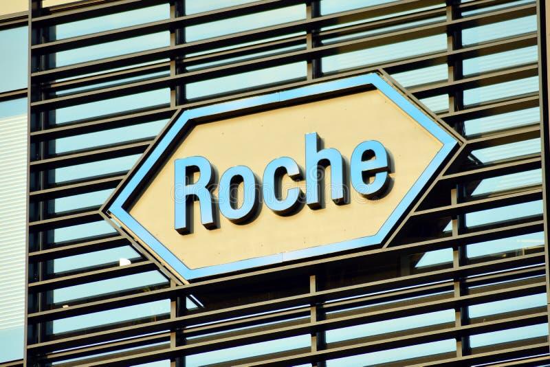 Szyldowy Roche Firmy signboard Roche zdjęcia stock