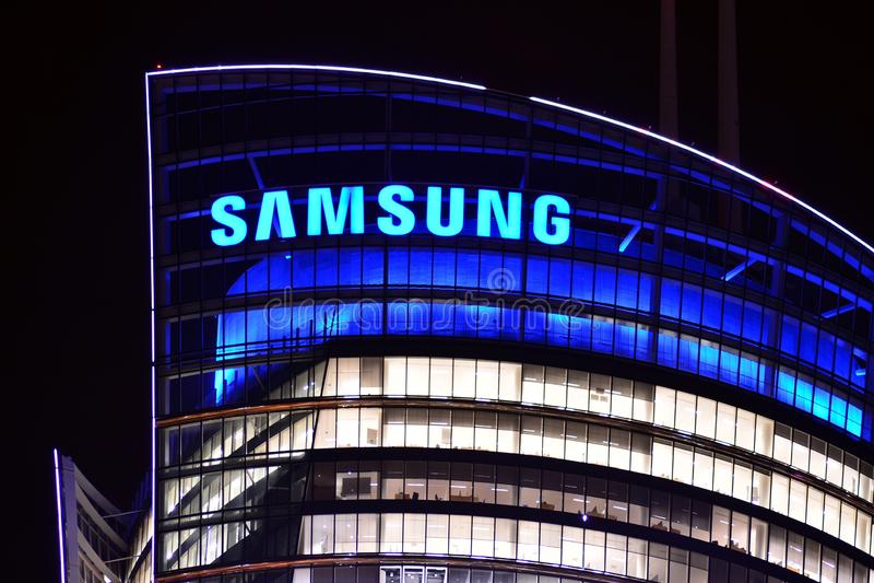 Szyldowy Samsung Firmy signboard Samsung obraz stock