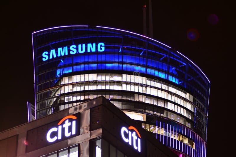 Szyldowy Samsung Firmy signboard Samsung obrazy stock