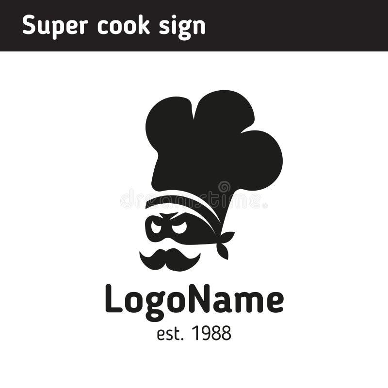 szyldowy super kucharz w nakrętce dla fast food kawiarni, kulinarnych kursów lub royalty ilustracja