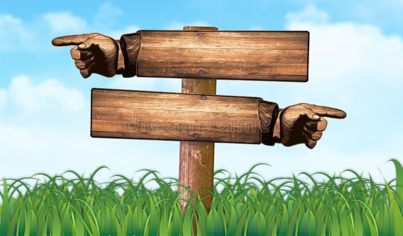 Szyldowy Wskazuje palec trawy pole Plenerowy royalty ilustracja