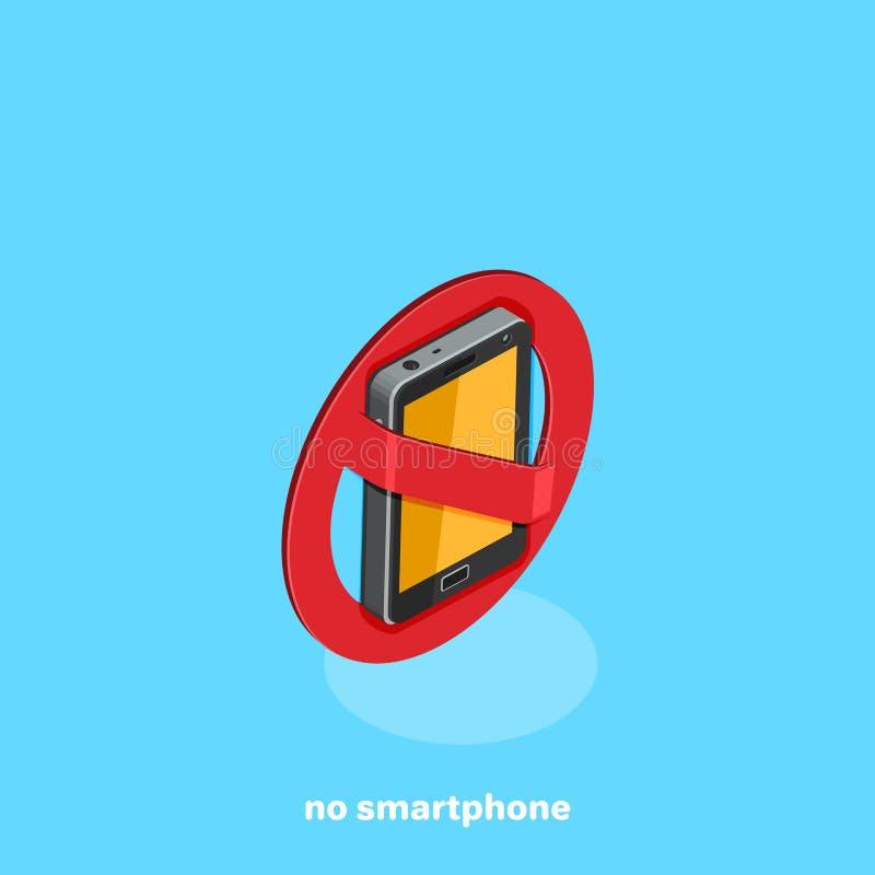 Szyldowy zabraniający use smartphone, Żadny Smartphone royalty ilustracja
