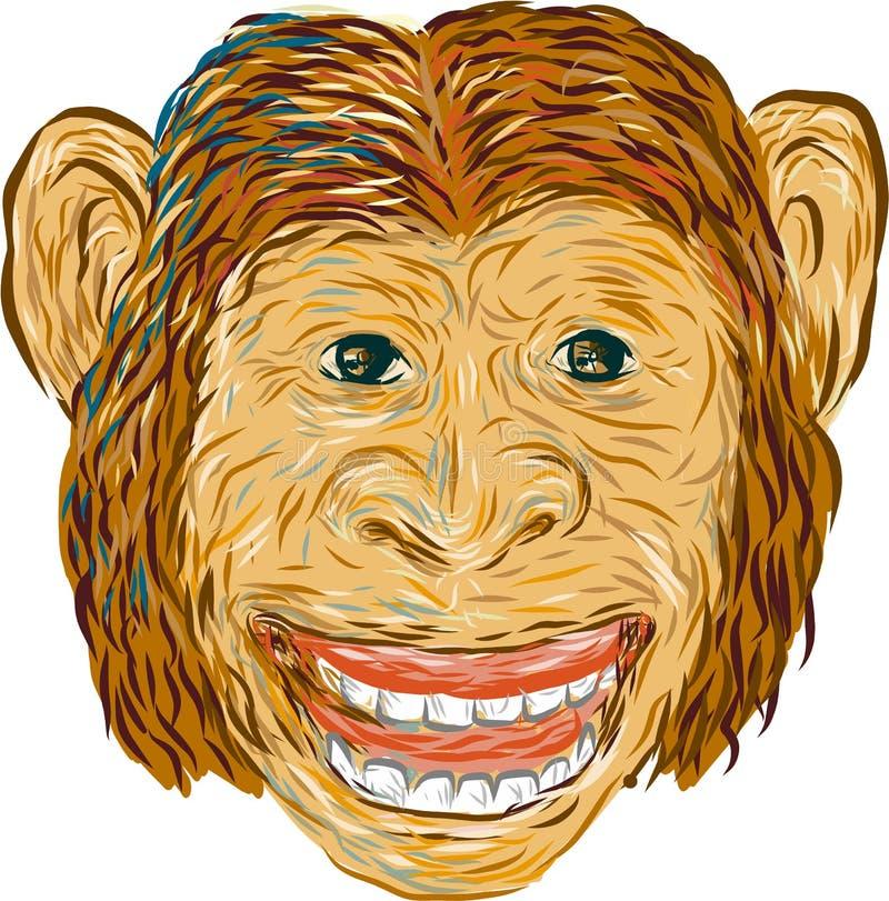 Download Szympans Głowy Przód Odizolowywający Ilustracja Wektor - Ilustracja złożonej z atrament, narys: 65225676