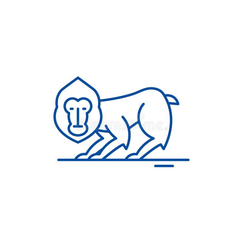 Szympans ikony kreskowy pojęcie Szympansa płaski wektorowy symbol, znak, kontur ilustracja royalty ilustracja