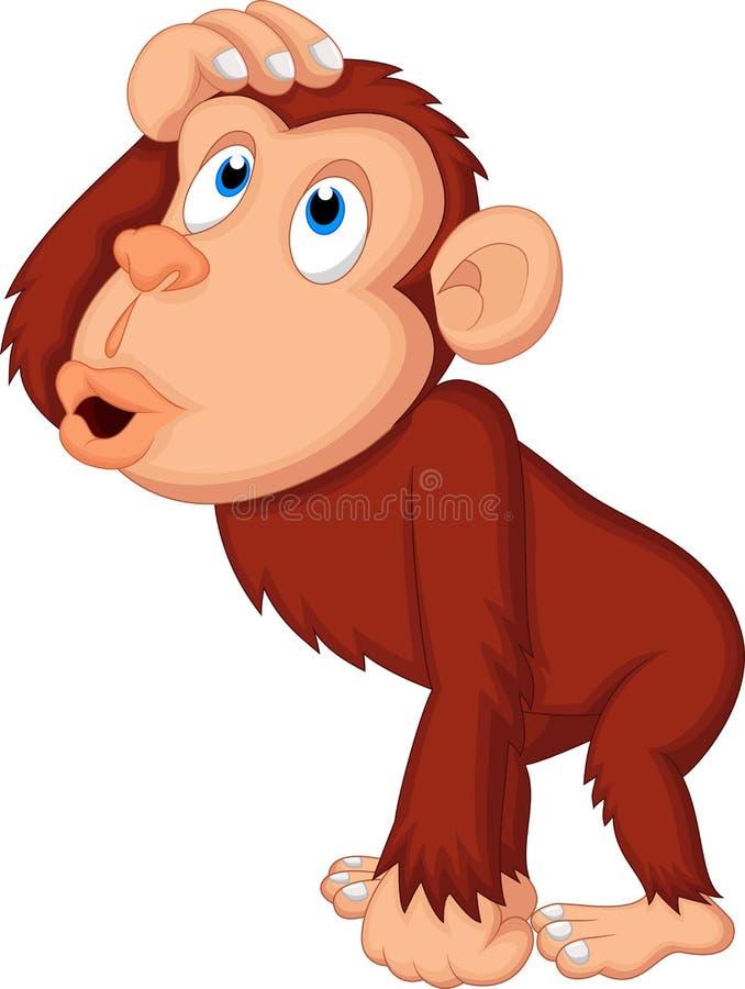 Szympans kreskówki główkowanie ilustracja wektor