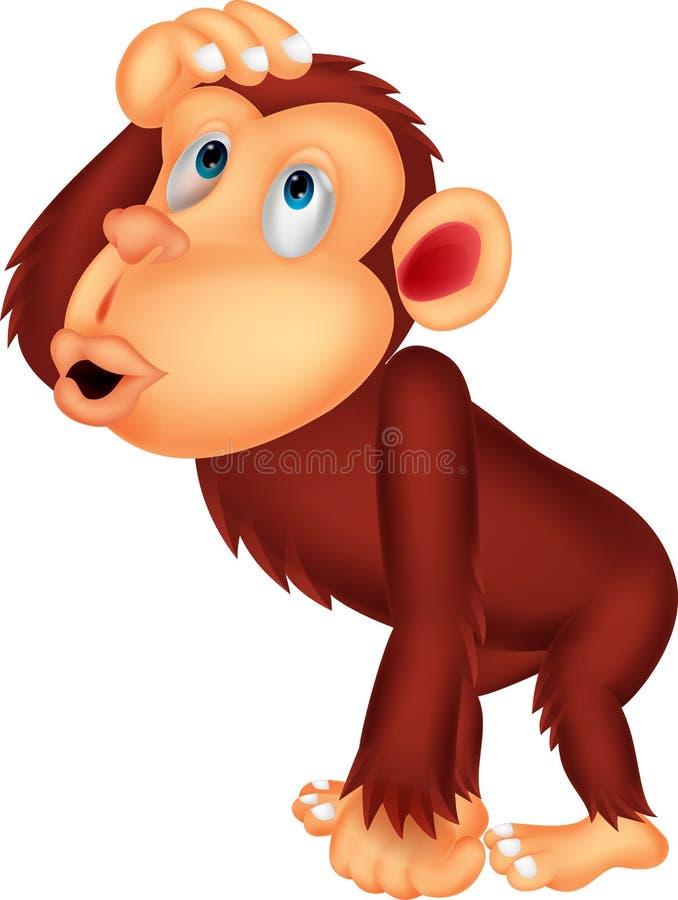 Szympans kreskówki główkowanie ilustracji