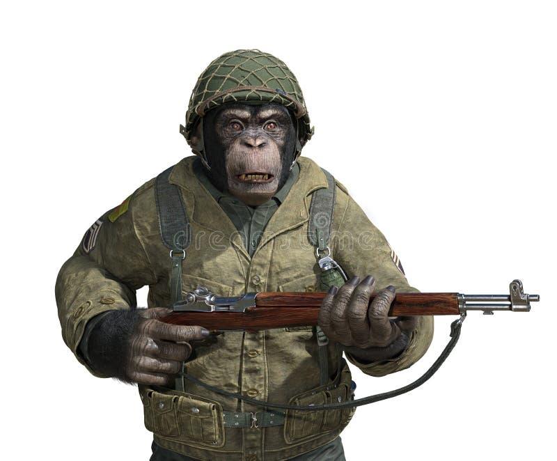 Szympansa żołnierz na bielu ilustracji
