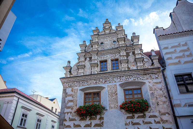 Tábor architecture. Photography of ancient buildings in Tábor Czech Republic stock photo