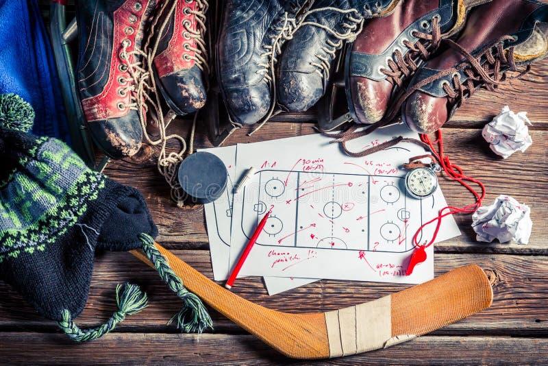 Táctica de la formación en partidos del hockey fotos de archivo libres de regalías