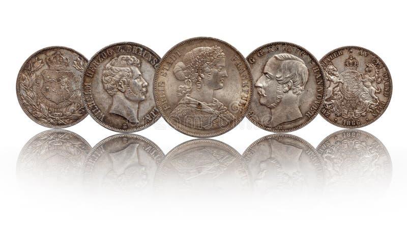 Tálero doble Hannover, Francfort, Brunswick Lueneburg del tálero alemán de las monedas de plata dos de Alemania imagenes de archivo