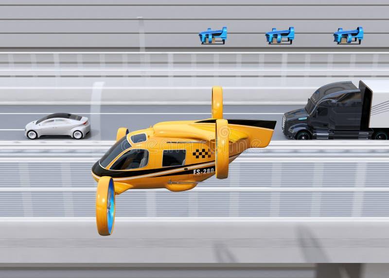 Táxi alaranjado do zangão do passageiro, frota dos zangões da entrega que voam junto com o caminhão que conduz na estrada ilustração do vetor