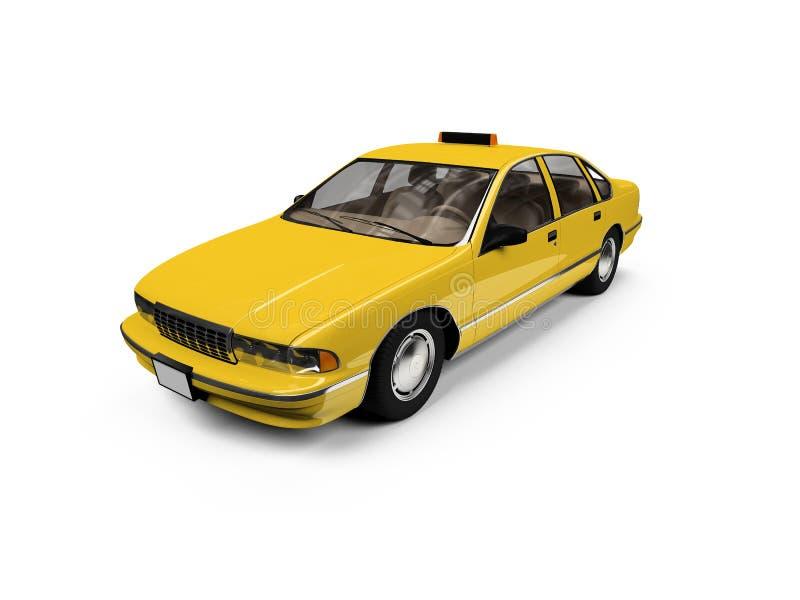 Táxi amarelo isolado sobre o whie ilustração stock