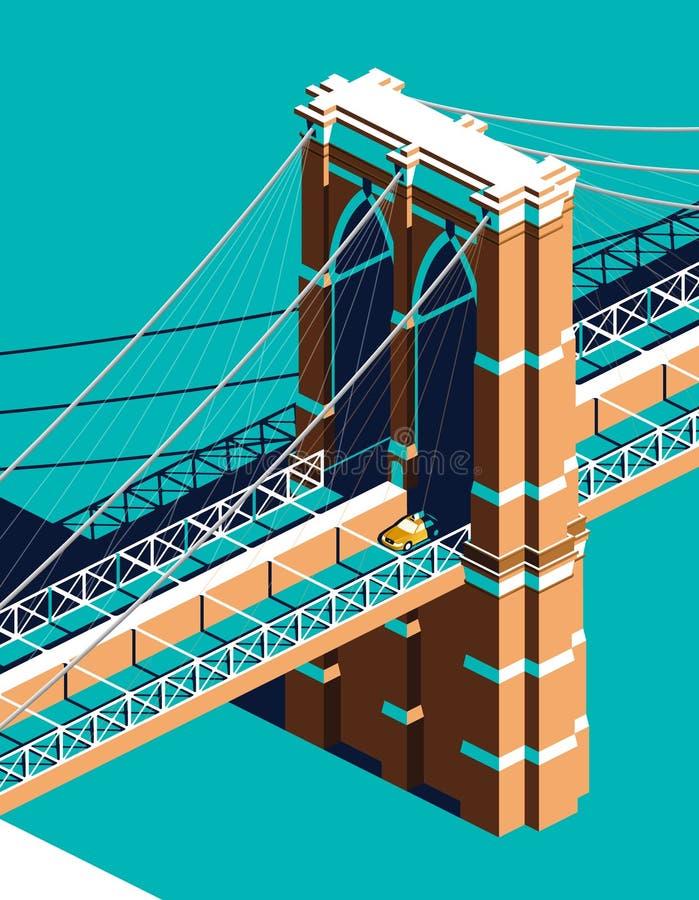 Táxi amarelo na ponte de Brooklyn isométrica ilustração do vetor