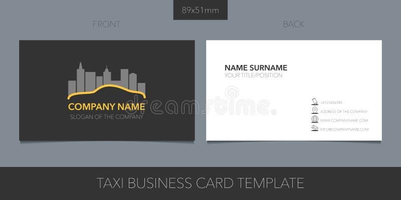 Táxi, cartão do vetor do táxi com logotipo, ícone e detalhes vazios do contato, nome ilustração royalty free