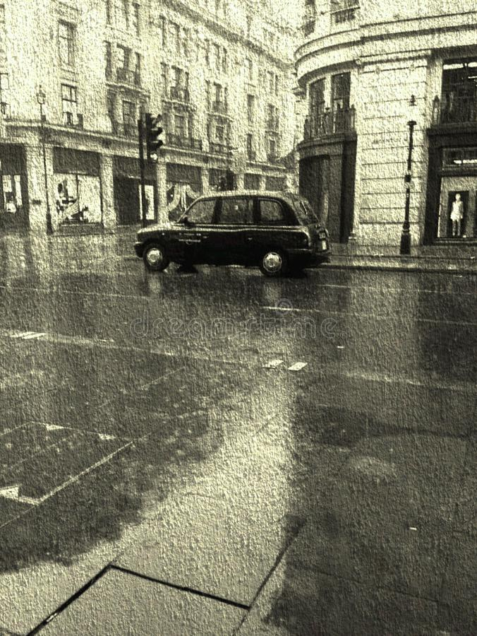 Táxi da chuva imagens de stock