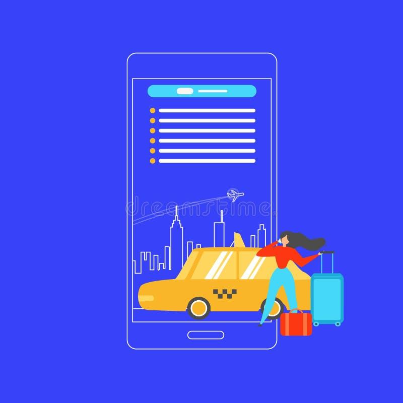 Táxi de registro com conceito liso do vetor do telefone celular ilustração stock