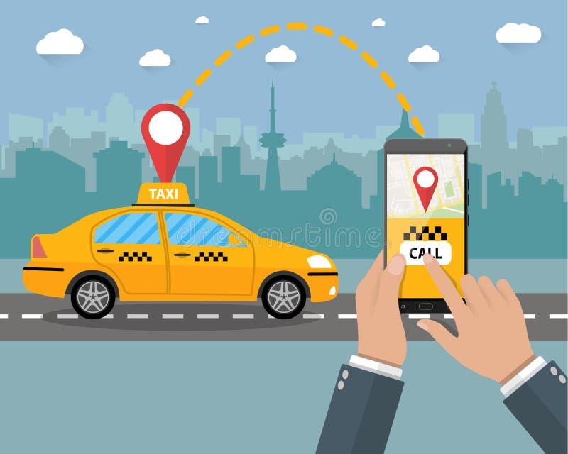 Táxi de táxi amarelo Mãos, smartphone, aplicação ilustração stock