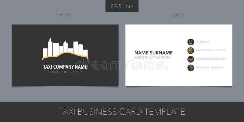 Táxi, disposição do vetor do táxi do cartão com detalhes incorporados do logotipo, do ícone e do molde ilustração stock