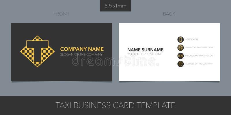 Táxi, disposição do vetor do táxi do cartão com detalhes incorporados do logotipo, do ícone e do molde ilustração do vetor