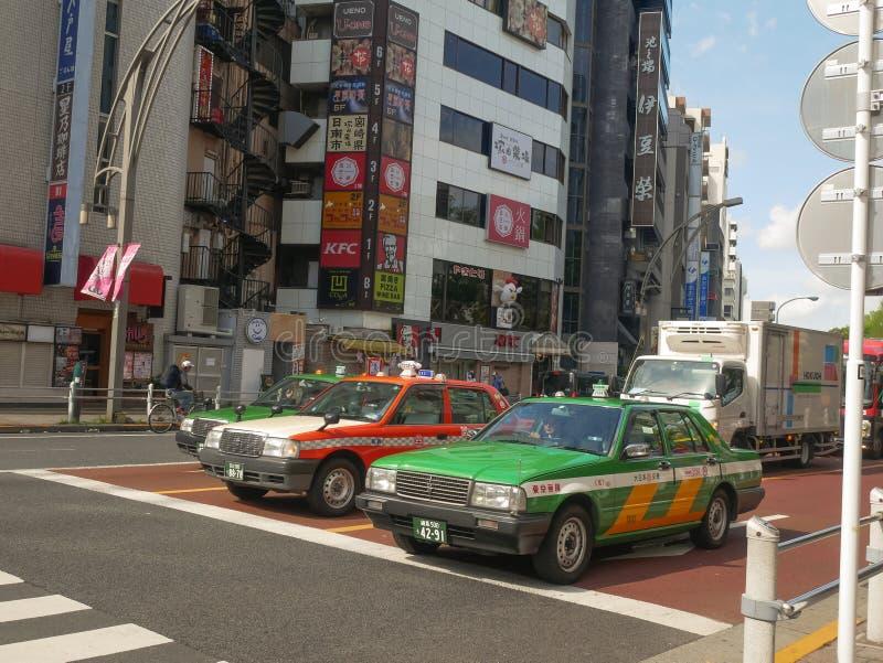 Táxi do Tóquio, táxi da cidade do Tóquio, Times Square, Japão, fotografia de stock