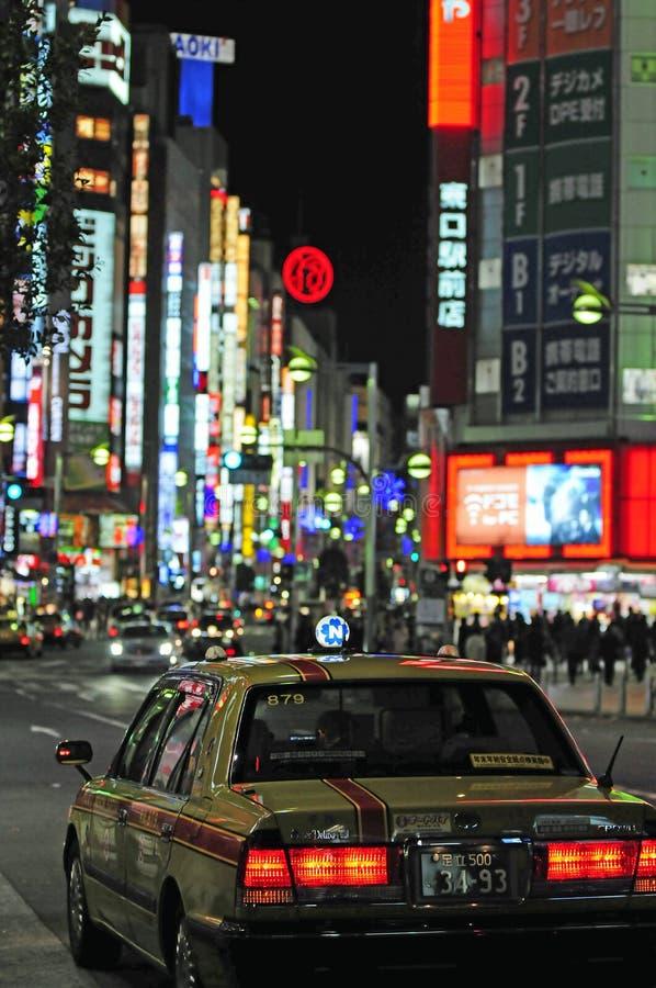 Táxi em Tokyo da baixa imagem de stock