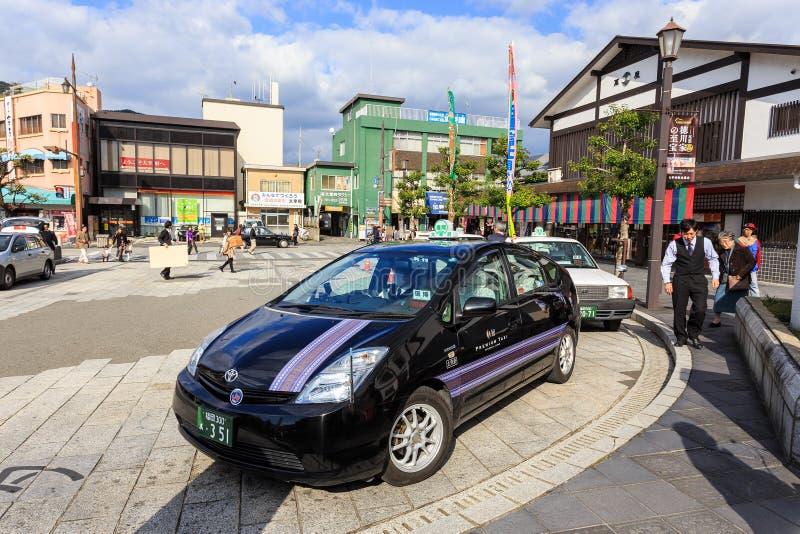 Táxi japonês na estação de Dazaifu fotografia de stock royalty free