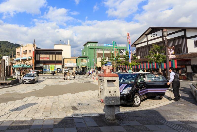 Táxi japonês na estação de Dazaifu foto de stock royalty free