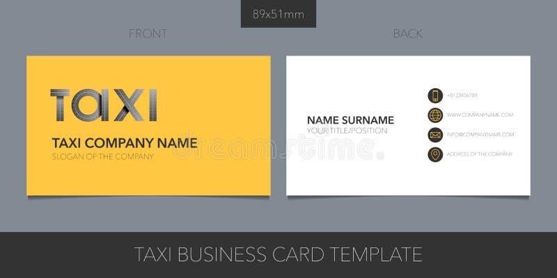 Táxi, molde do cartão do vetor do táxi com detalhes incorporados do logotipo, do ícone e do contato ilustração stock