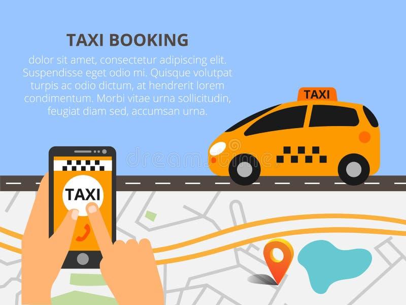 Táxi público na linha serviço, aplicação móvel Mapa da navegação ilustração stock
