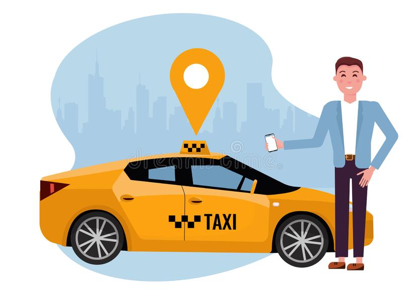 Táxi pedindo de sorriso do homem no telefone celular Alugue um carro usando o app m?vel Conceito em linha do app do t?xi Carro am ilustração royalty free