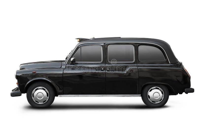 Táxi velho inglês, táxi preto no branco foto de stock royalty free