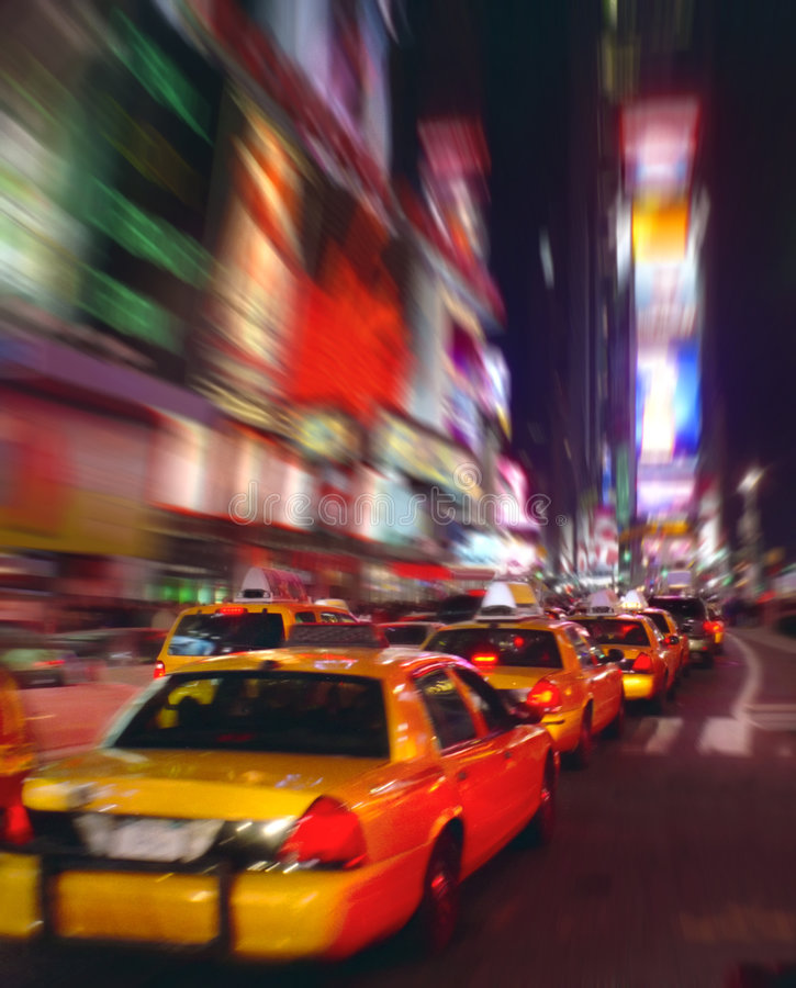 Táxis quadrados de Tmes foto de stock royalty free